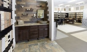 a ceramic tile showroom showing a variety of ceramic tile and porcelain tile samples