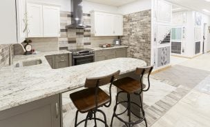 a kitchen with ceramic tile and porcelain tile installed